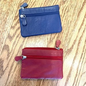NWOT coin purse pair - real leather - blue and red